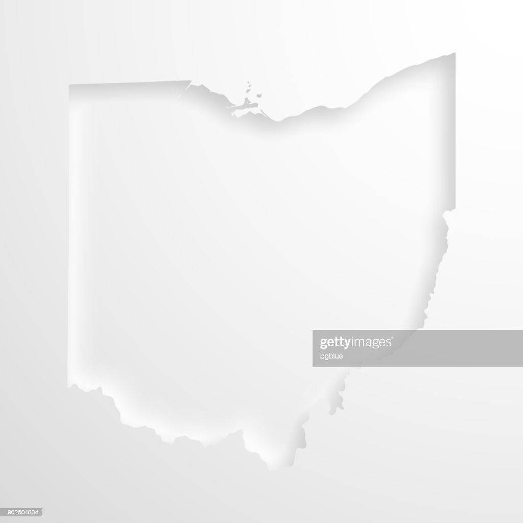 Ohio Map With Embossed Paper Effect On Blank Background Vector Art
