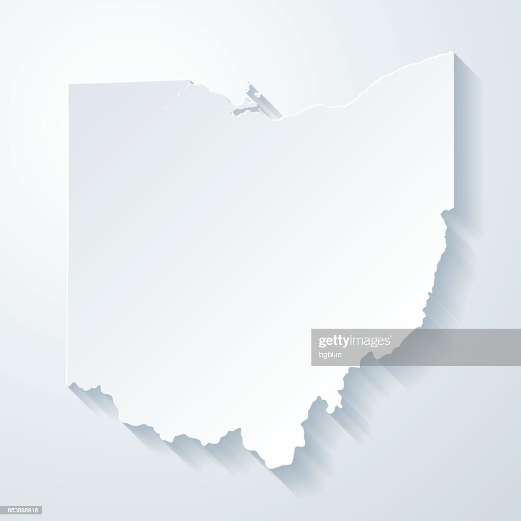 Ohio Map With Paper Cut Effect On Blank Background Vector Art