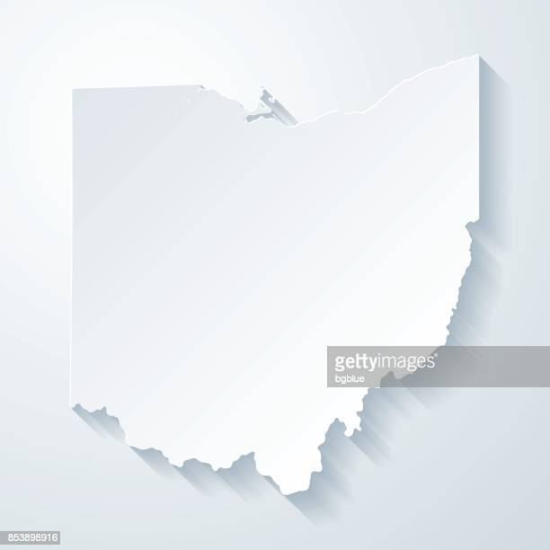 Ohio map with paper cut effect on blank background