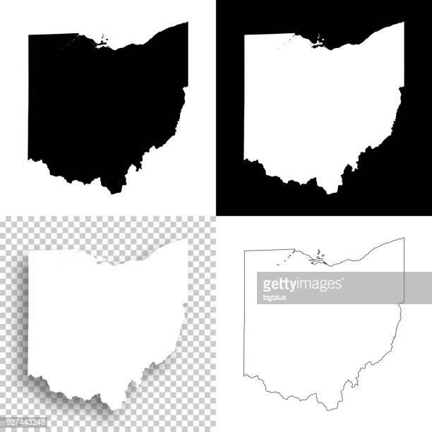 空白のデザイン - のためのオハイオ州地図、白と黒の背景 - オハイオ州点のイラスト素材/クリップアート素材/マンガ素材/アイコン素材