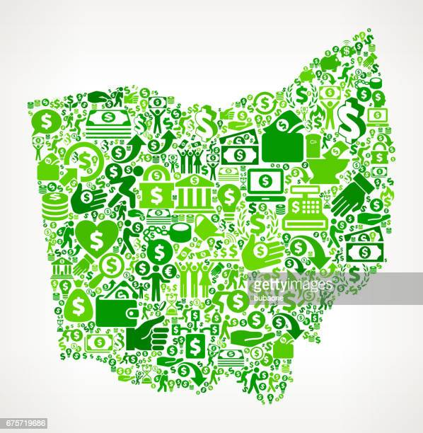 ohio money and finance green vector icon background - flipping a coin stock illustrations, clip art, cartoons, & icons