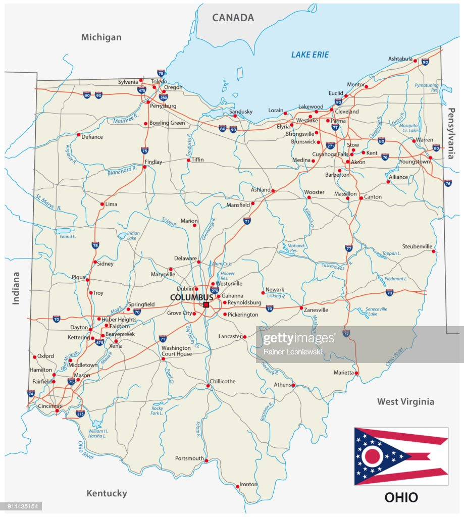 Ohio road map with flag