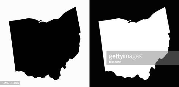 ohio state black and white simple map - ohio stock illustrations