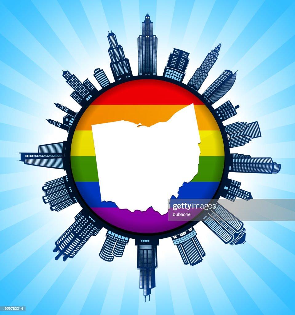 Ohio State Karte auf Gay Pride Stadt Skyline Hintergrund : Stock-Illustration