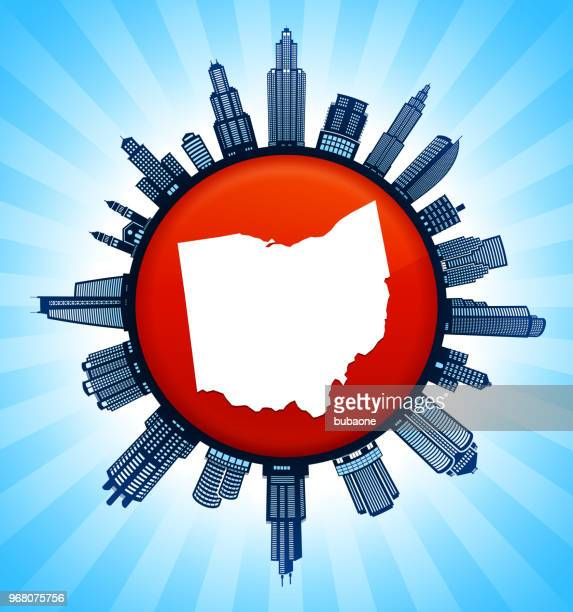 ohio state karte auf republikanische rote stadt skyline hintergrund - gewerbeimmobilie stock-grafiken, -clipart, -cartoons und -symbole