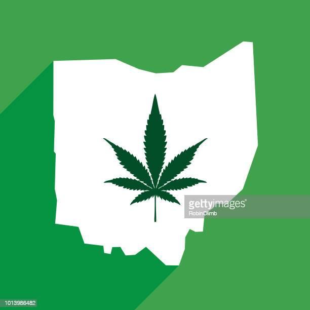 ohio state marijuana map - ohio stock illustrations
