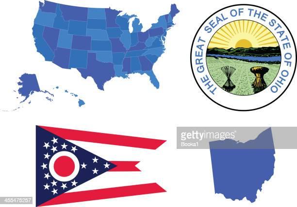 ohio state set - ohio stock illustrations