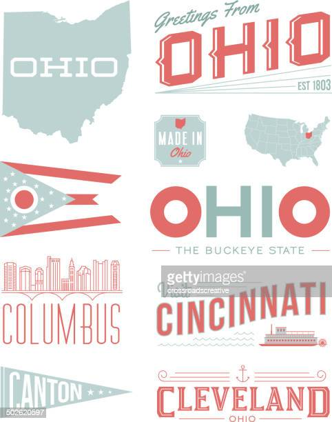 ohio typography - columbus ohio stock illustrations