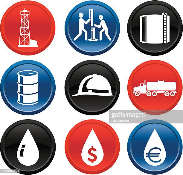 Oil and Gas Icons on Buttons Series One