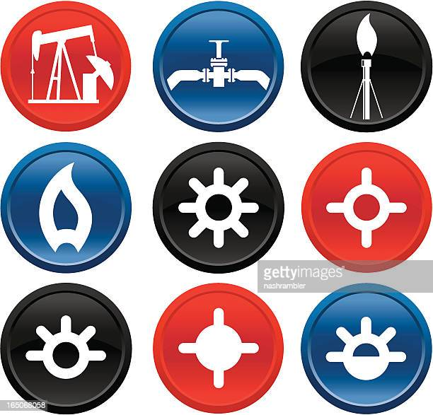 oil and gas icons on buttons series two - flare stack stock illustrations, clip art, cartoons, & icons