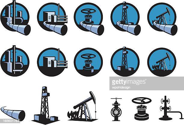 oil and gas icons - oil pump stock illustrations, clip art, cartoons, & icons