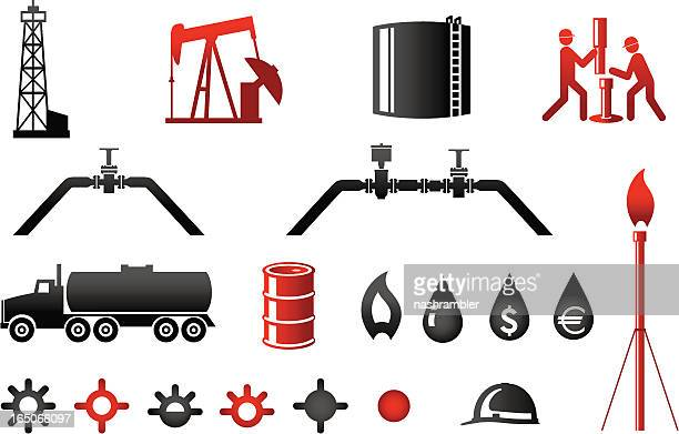 oil and gas industry icons series 2 - drilling rig stock illustrations, clip art, cartoons, & icons
