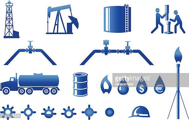 oil and gas industry icons - oil field stock illustrations, clip art, cartoons, & icons