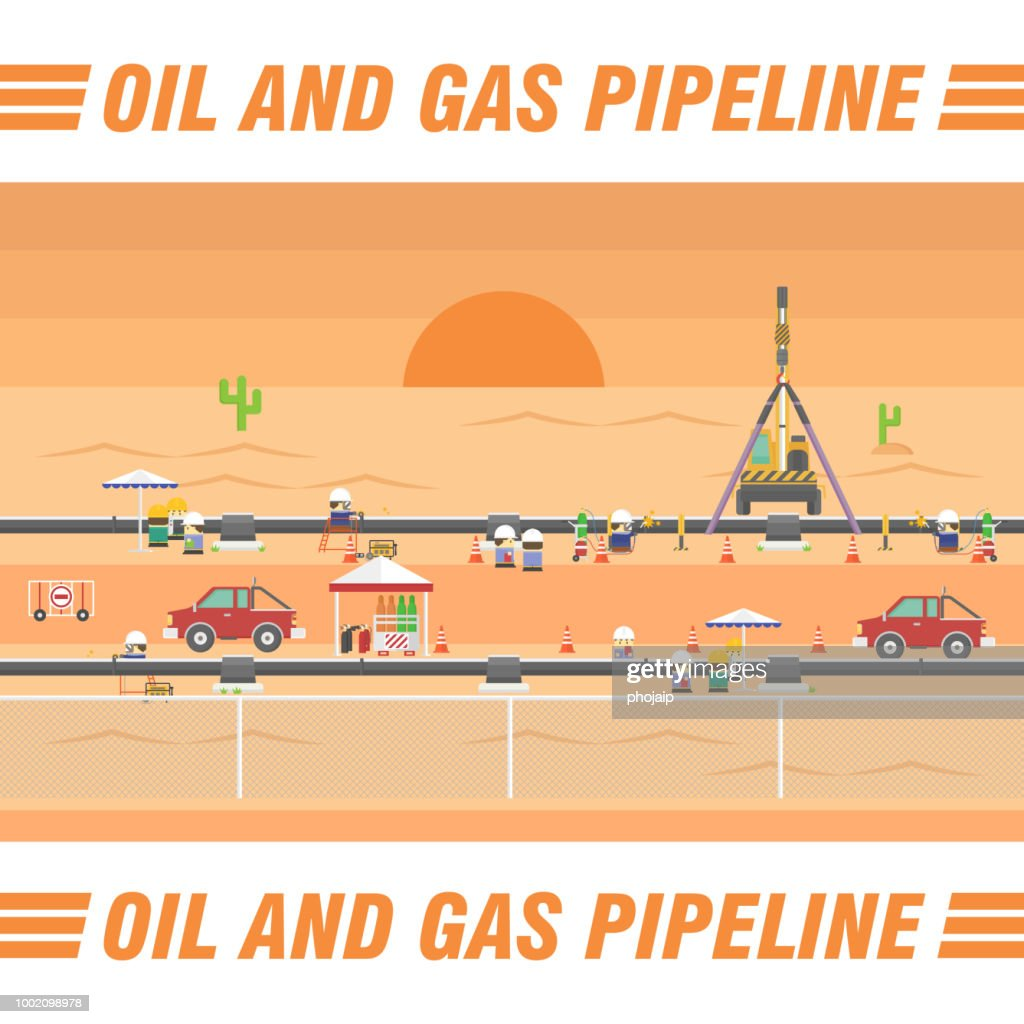 Oil and gas pipeline transport flat cartoon vector illustration design. Cute cartoon workers are working for pipeline construction and inspection.