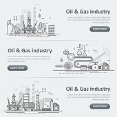 Oil and gas production industry process website banner header set