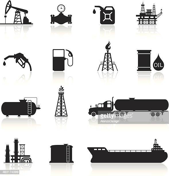 oil and petrol industry icon set - oil pump stock illustrations, clip art, cartoons, & icons