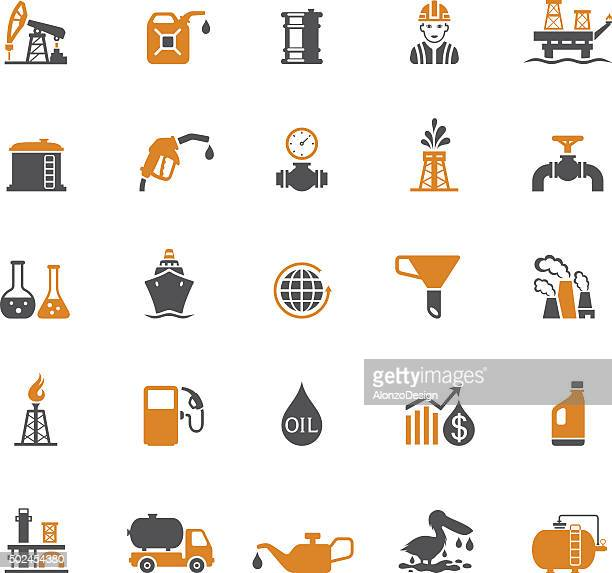 oil and petrol industry icon set - oil field stock illustrations, clip art, cartoons, & icons
