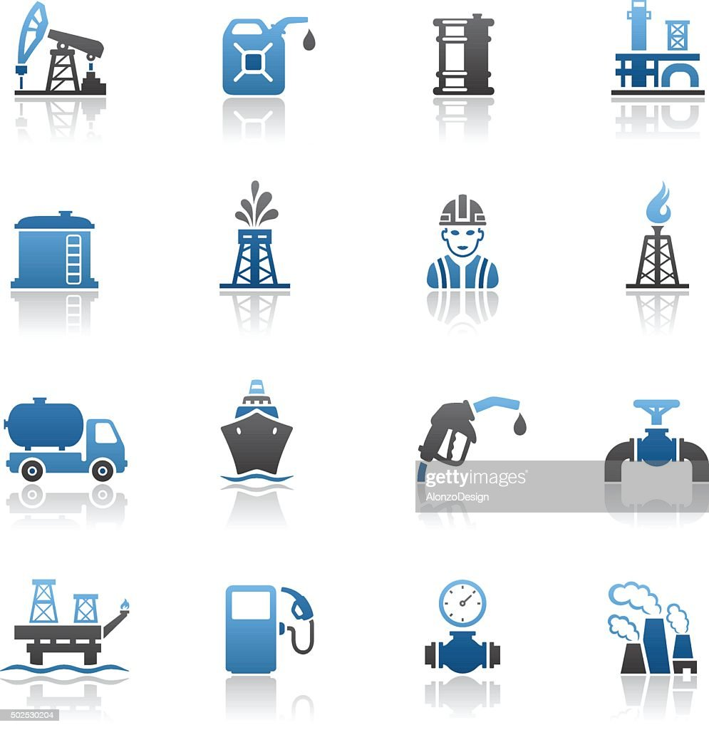 Oil and Petrol Industry Icon Set : stock illustration