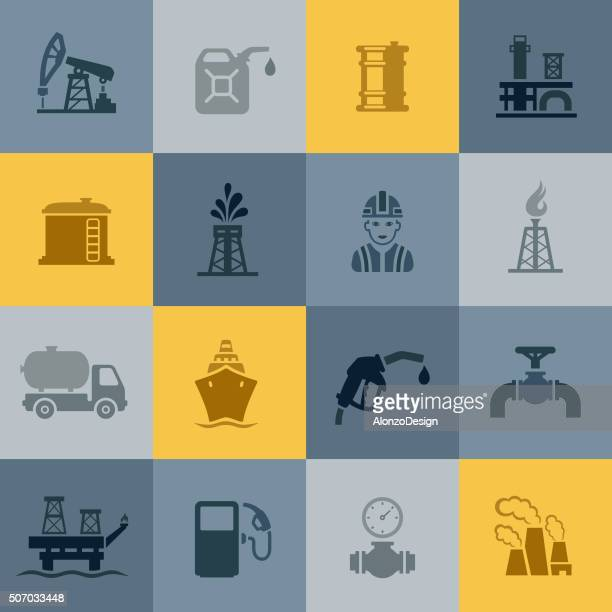 oil and petrol industry icons - oil tanker stock illustrations, clip art, cartoons, & icons