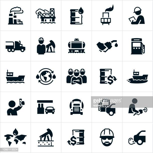 oil and petroleum icons - oil field stock illustrations, clip art, cartoons, & icons