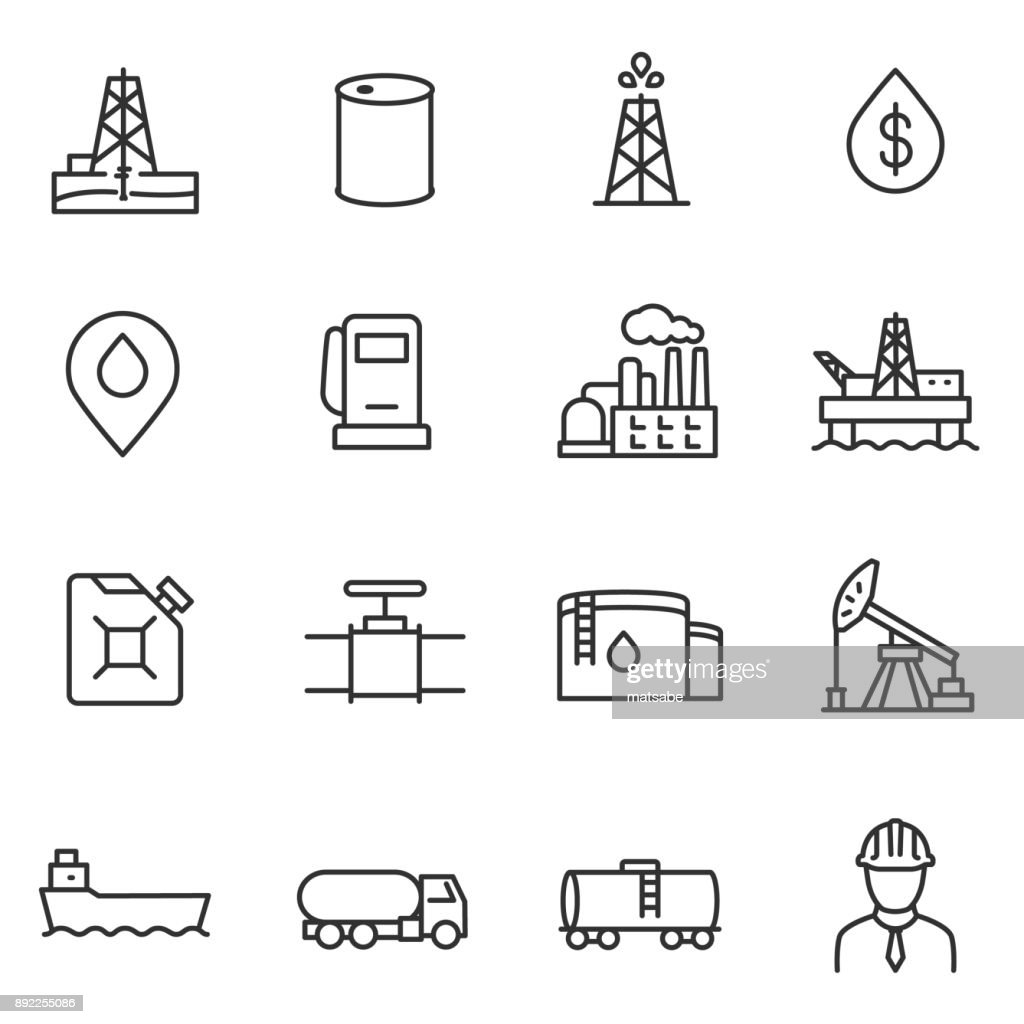 Oil and petroleum industry icons set. Line with editable stroke