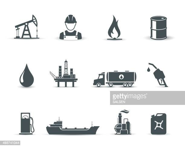 oil and petroleum industry icons - oil pump stock illustrations, clip art, cartoons, & icons
