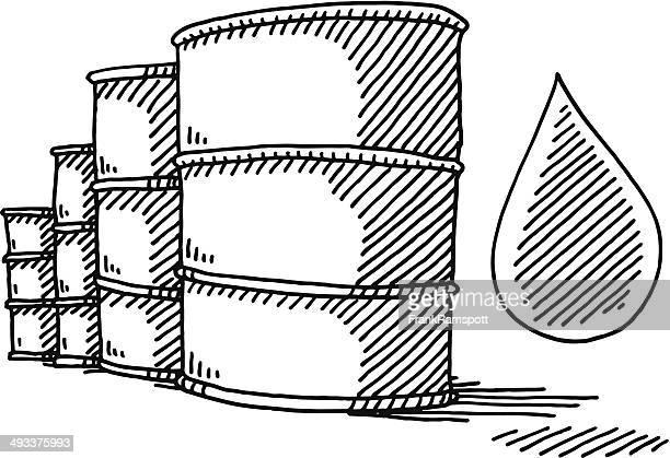 oil barrel drop drawing - oil drum stock illustrations, clip art, cartoons, & icons