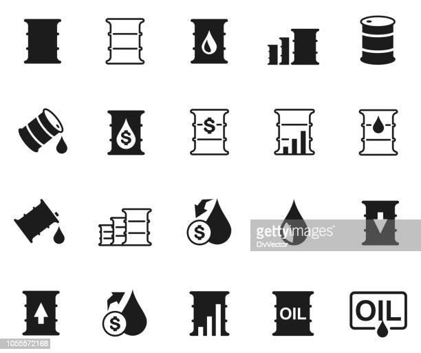 oil barrel icon set - crude oil stock illustrations