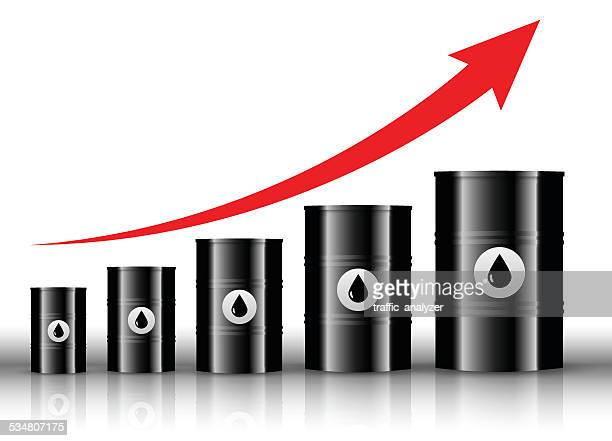 oil barrels and positive trend - oil drum stock illustrations, clip art, cartoons, & icons