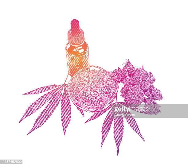 麻の葉と種子を持つcbdオイルボトル - トリコーム点のイラスト素材/クリップアート素材/マンガ素材/アイコン素材