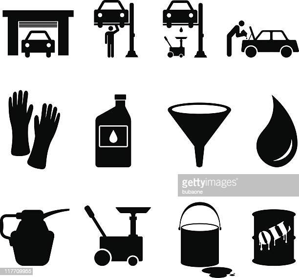 oil change black and white royalty free vector icon set - pouring stock illustrations, clip art, cartoons, & icons