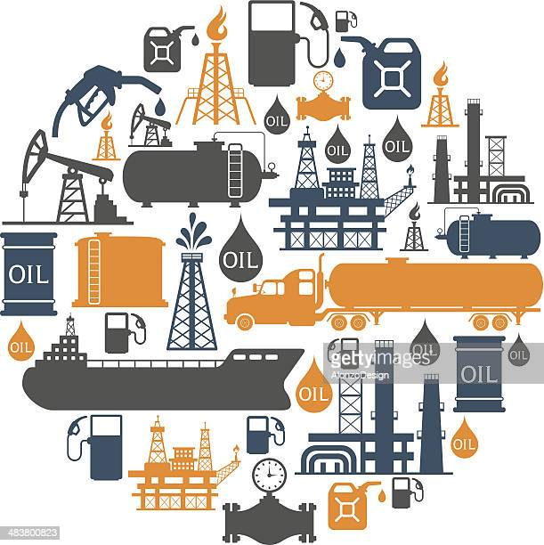 oil collage - fuel station stock illustrations, clip art, cartoons, & icons