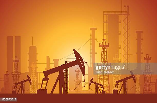 oil derrick - oil pump stock illustrations, clip art, cartoons, & icons