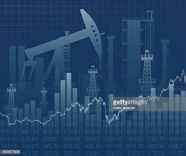 oil derricks and financial data - crude oil stock illustrations