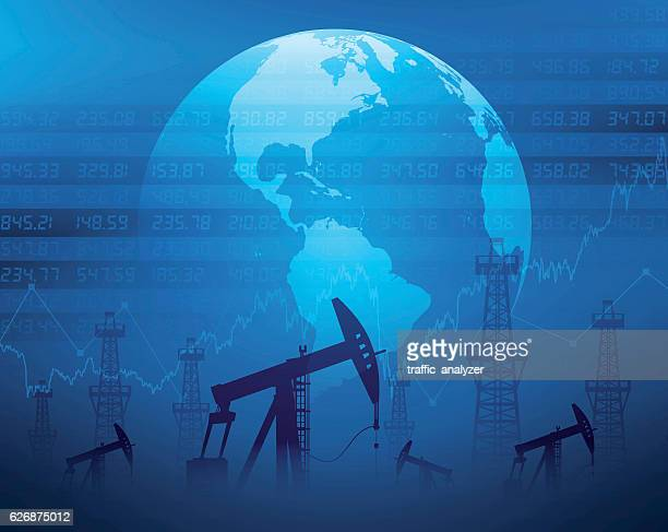 oil derricks and financial data - offshore platform stock illustrations, clip art, cartoons, & icons