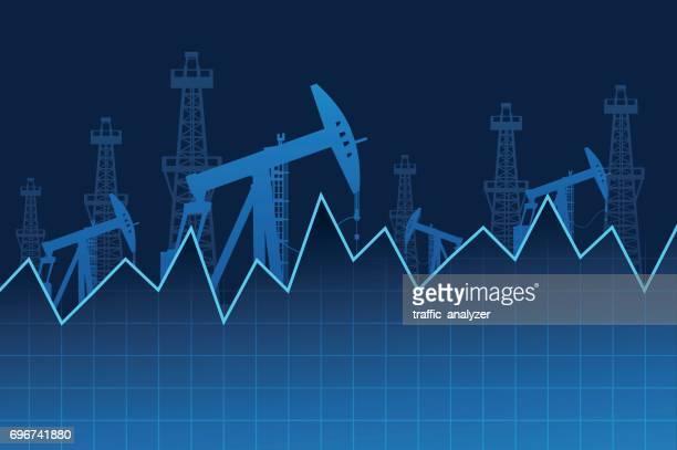 oil derricks and financial data - drilling rig stock illustrations, clip art, cartoons, & icons