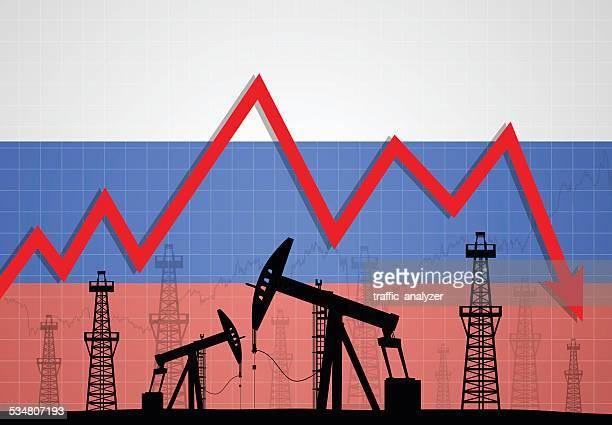 oil derricks over russian flag - deterioration stock illustrations