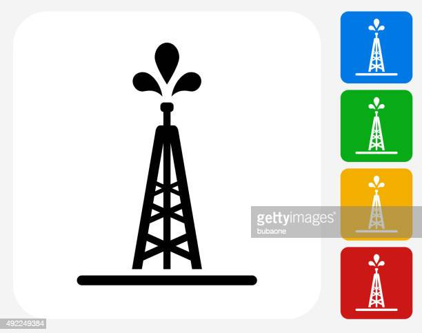 oil drill icon flat graphic design - offshore platform stock illustrations, clip art, cartoons, & icons