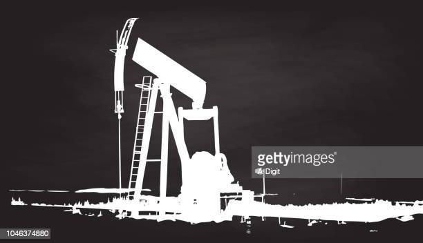 oil drilling chalk sketch - crude oil stock illustrations