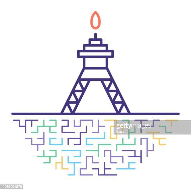 ilustraciones, imágenes clip art, dibujos animados e iconos de stock de aceite de perforación rig vector línea icono ilustración - torre petrolera