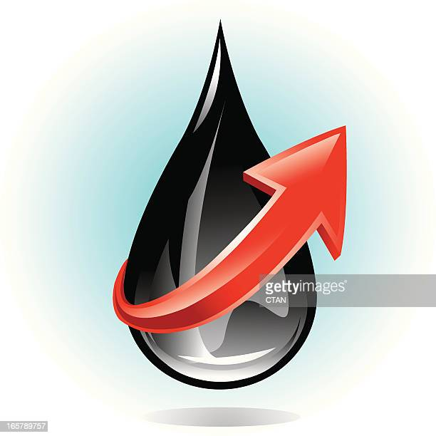 oil drop with arrow - gas prices stock illustrations, clip art, cartoons, & icons