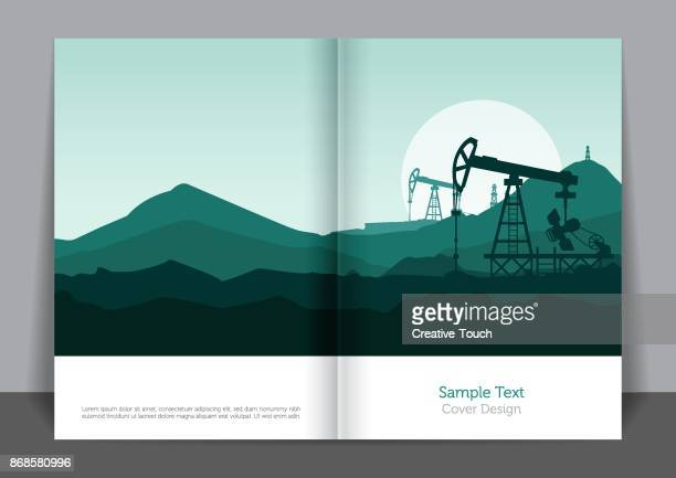 oil energy cover design - offshore platform stock illustrations, clip art, cartoons, & icons