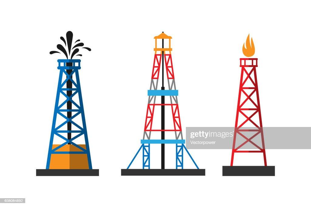 Oil extraction platform vector illustration