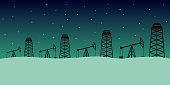 Oil field in winter Siberia. Vector illustration