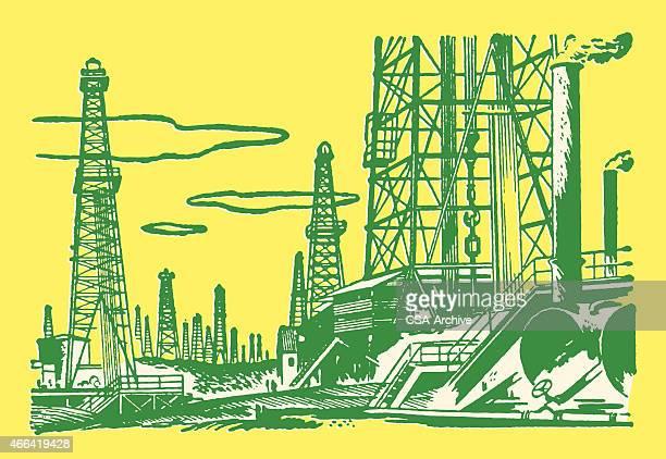 ilustraciones, imágenes clip art, dibujos animados e iconos de stock de campo de petróleo - torre petrolera