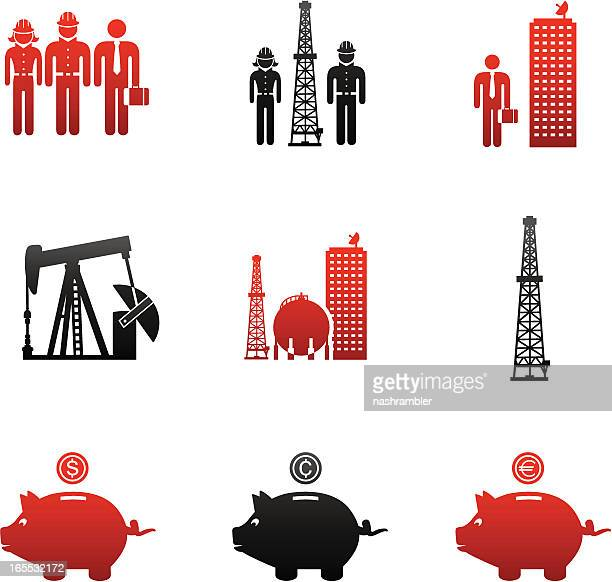 oil & gas industry careers icons-red and black - oil field stock illustrations, clip art, cartoons, & icons