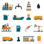 Oil gas industry manufacturing icons for infographic