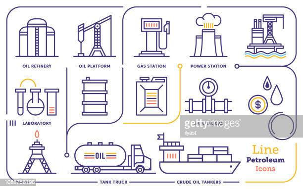 oil & gas production vector line icon set - petrochemical plant stock illustrations, clip art, cartoons, & icons