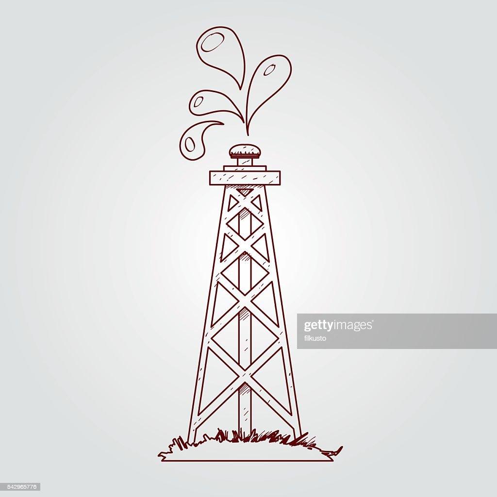 Öl Gas Outfitlogo Kontur Zeichnen Vektorgrafik | Getty Images
