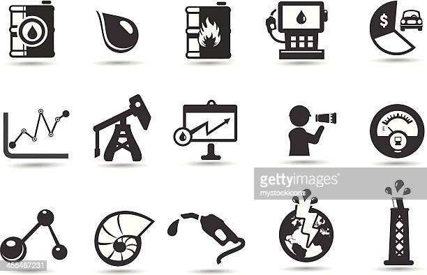 ilustraciones, imágenes clip art, dibujos animados e iconos de stock de aceite iconos y símbolos - torre petrolera